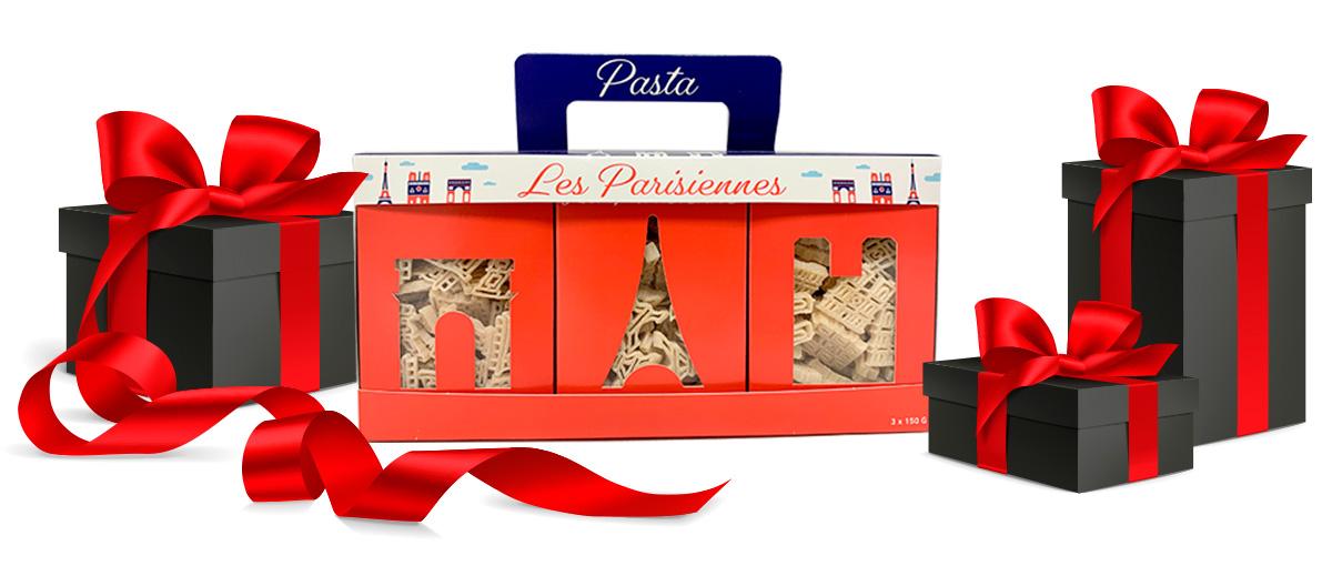 idée cadeau les nominettes, coffret de pâtes alimentaires fermières en forme de monuments de paris
